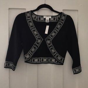 White House Black Market Embroidered Cardigan S